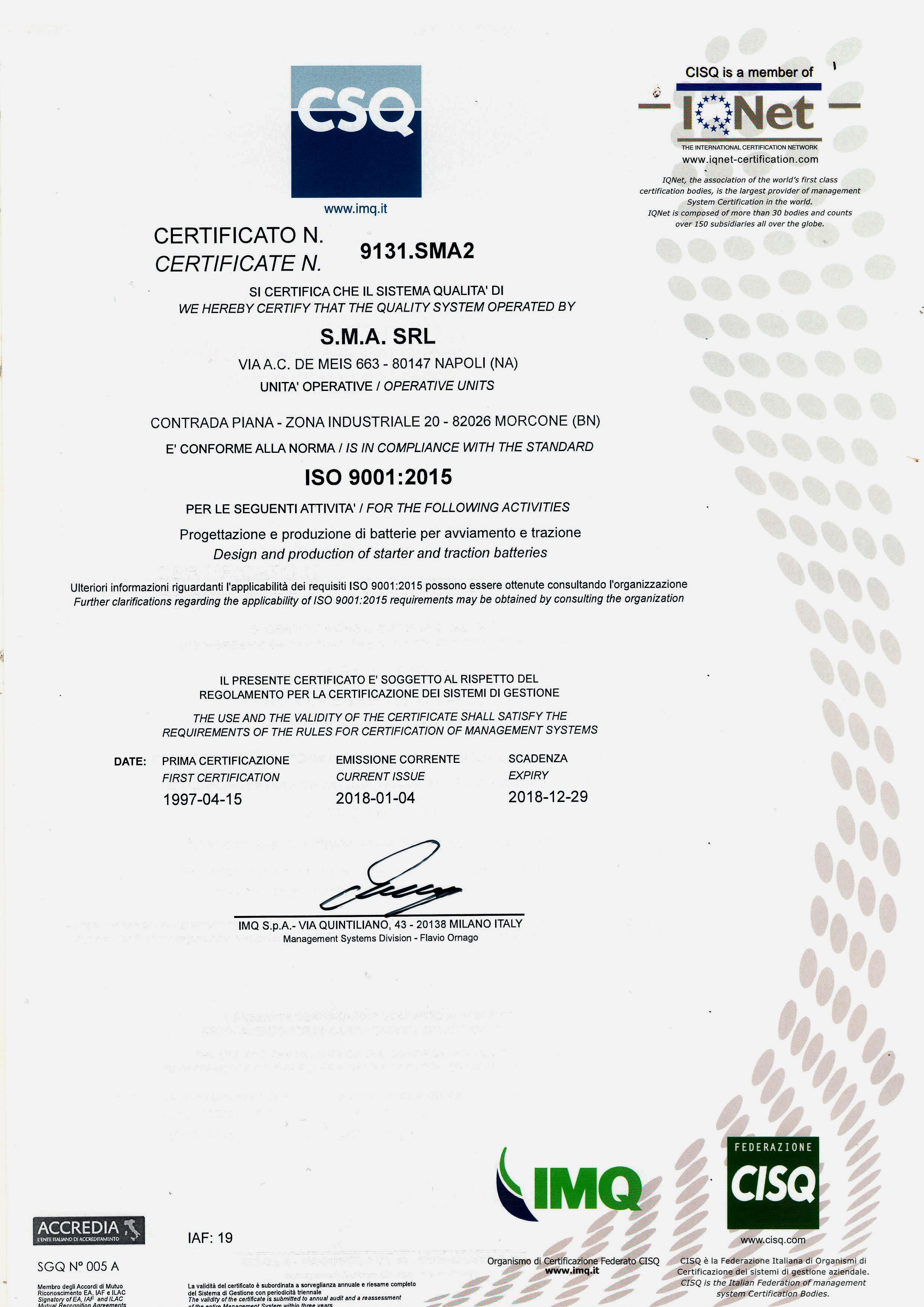 Certificato CSQ